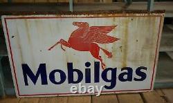 Antique Mobil Gas Double Côté Porcelaine Panneau 3 Pieds X 5 Pieds Station-service Panneau