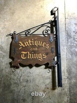 Antique Original Antiquités & Things Double-sided Magasin Bois Et Métal Signe + Lumière