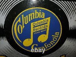 Antique Originale Columbia Records Porcelain Double Sided Signe Avec Support