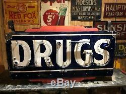 Antique Originale Drogues Double Face Porcelain Neon Sign Vintage Pharmacie