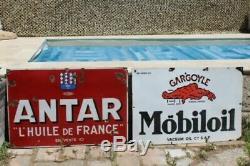 Antique Porcelaine Française Mobil Oil Gargoyle Publicité Signe Double Face 1930