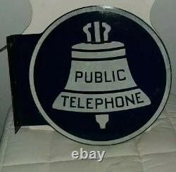 Antique Public Telephone Painted Aluminium Double Faced Flange Signe