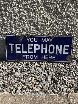 Antique Vintage Émail Signe Vous Pouvez Téléphone D'ici Double Face