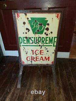 Antique Vintage Pensupreme Ice Cream Sign, Porcelaine, Double Face