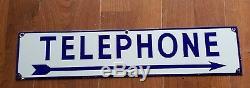 Antique / Vintage Porcelaine Bleu Et Blanc Téléphone Double Signe Sided