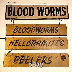 Antique Vtg 1950 Appât De Pêche Tackle Worms Sign Métal Double Face De Chasse
