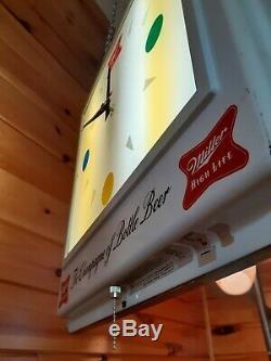 Antique Vtg 1957 Miller Display High Life Lighted Store, Double Face Signe / Horloge