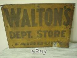 Antique's Walton Dept. Magasin Fairbury Tin Bilaterale 20 X 14 Signe