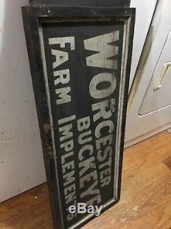 Antiquité Worcester Buckeye Farm Met En Place Un Magasin De Signes C1890s Double Face