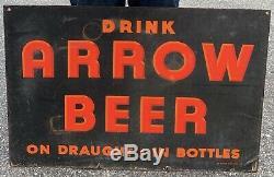 Arrow Bière Double Face En Porcelaine Signée Baltimore Enamel & Co