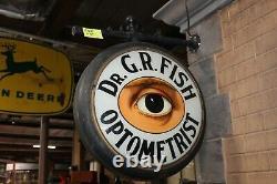 Au Début Des Années 1900 Optométrist Glass Light Up Signe Double Sided Metal Signe Dr. G. R. Fish