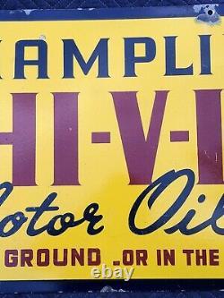 Authentic Vintage 1930's Champlin Hi-v-i Motor Oil Porcelaine Double-sided