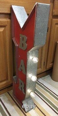 Bar Light Arrow Signe Double Sided Flange Vintage Style Man Cave Garage Pub Beer