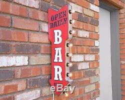 Bar Open Daily Beer Plugin Double Face Arrow Signe Lumineux De Chapiteau En Métal Rustique