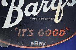 Barq's Flange Metal Soda Sign Buvez Sa Bonne Bière De Racine Double Face Vintage