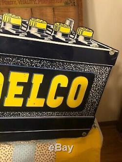 Batteries Original Vintage Delco Double Face Signons Pas D'huile Porcelaine Gaz Nice