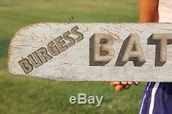 Batteries Vintage Burgess Double Face Wood Sign Non Huile Porcelaine Gaz Nice