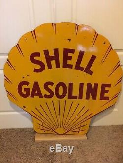 Bidon D'huile Pour Moteur Shell Original 42 1929 Shell En Porcelaine À Double Face