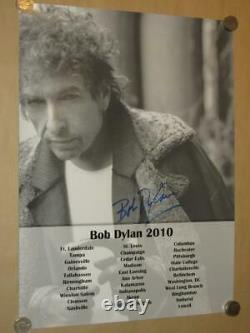 Bob Dylan Signé À La Main 2010 Tour Double Face 18 X 24 Promo Affiche