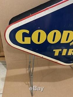 Bonne Année Pneus Rack Affichage Double Signe Sided Vintage Métal Gas Oil Garage