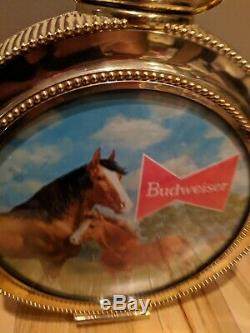 Budweiser Beer Rotating Horloge Double Face Signe Clair Clydesdale Propre Travail