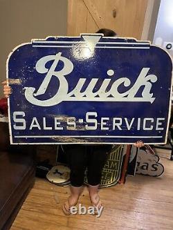 Buick Sales Service Double Sided Porcelaine Enamel Signe Station-service Huge, Pétrole