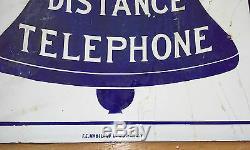 C1900 1921 Bell System Double Sided Bleu Cobalt Porcelaine Flanged Rare Signe