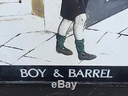 C1950-60 English Pub Signe Boy & Barrel Double Face Châssis Métallique Et La Plaque De Bois