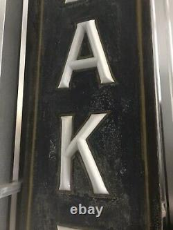 C. 1920 Double Sided Opal Glass Letters Lighted Bakery Sign Porcelain Sockets