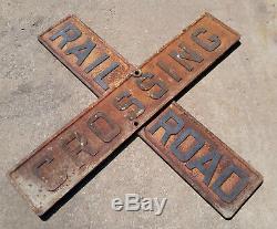 Cast Antique Fer 48 Double Face Croisement De Chemin De Fer Signe Croix D'avertissement