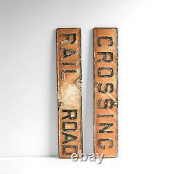 Cast Vintage Fer Rr Chemin De Fer Crossbuck Signe Double Face (signb)