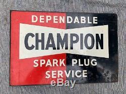 Champion Spark Plug Enseigne D'émail Vintage, Automobilia, Enseigne À Bride Double Face