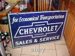 Chevrolet Porcelaine 28 X 40 1930's 40 Double Sided Chevy Auto Dealer Sign