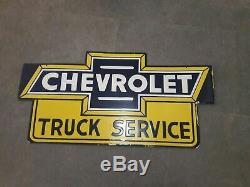 Chevrolet Porcelaine Service De Camion Connexion 36 X 18 Pouces Double Face