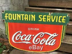 Coca Service Fontaine Cola Signe Porcelaine Double Face