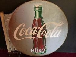 Coca-cola Flange Extérieur Magasin Signe Double Sided Original Patina