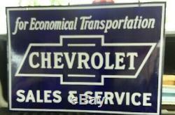 Concessionnaire Chevrolet Porcelain Signe Fin Des Années 1920 Super État Rare Double Face