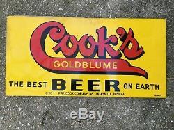 Cook's Goldblume Beer 1930's Enseigne En Métal Double Face