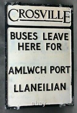 Crosville Buses Amlwch Port Llaneilian Double Sided Aluminum Sign Bus Stop
