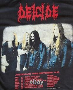 Deicide Once Upon The Cross Australian Tour 1995 Signé Vintage T-shirt