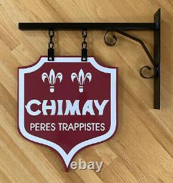 Déplacements De Peres Chimay 27 Panneau Publicitaire De Bière Belge En Porcelaine À Double Face