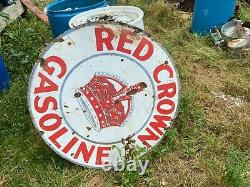 Double Face 42 Vintage Porcelaine Rouge Crown Essence Signe Non Une Reproduction