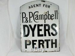 Double Face Écossaise Émail Publicité Signe Pour Dyers, C 1890