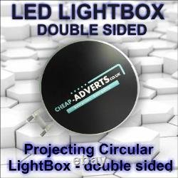 Double Face Extérieure Ronde Illuminée Projecting Light Box Enseigne D500mm Led