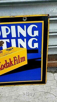 Double Originale Lourde Kodak 1930 Sided Signe Porcelaine