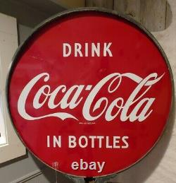 Double Sided Porcelain Coca Cola Lollipop Sign Vtg Retro Soda Publicité