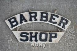 Double Sided Wood Barber Shop Trade Sign Antique Original Indianapolis