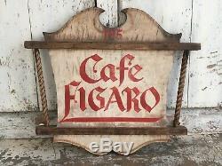 Early Antique Art Aafa Folk Painted Publicité Trade Wood Sign Double Face