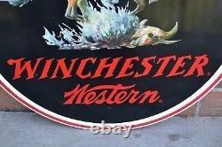 Énorme 38 Vintage Winchester Western Double Face Signe Dealer Co Métal Stout Connectez-vous