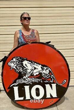 Énorme Lion Essence Et Huile Porcelaine 48 Panneau Double Face Pompe À Essence Man Cave Shop